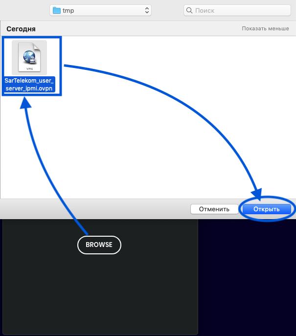 OpenVPN import profile - Browse